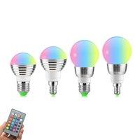 ingrosso rgb 7w remoto-Lampadina E27 E14 LED RGB Lampadina AC110V 220V 5W 7W LED RGB Faretto Dimmerabile Novità Luci RGB per vacanza + Telecomando IR 16 colori