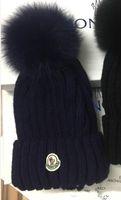 fuchskunst großhandel-HEISSE eingebrannte Frauen-Winter-Strickmütze-reine Baumwollwollfuchs-Pelz-Art- und Weisemädchen-weiche warme Kappe