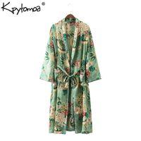 mode kimono blumen großhandel-Vintage Ethnic Floral Print Schärpen Kimono Shirt Frauen Neue Mode Strickjacke Lässige Bluse Tops Blusas Chemise Femme Blusa Y19043001