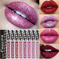 lápices labiales impermeables al por mayor-Nuevo CMAADU Sexy Glitter Liquid Lipstick Shimmer Diamond Lipgloss Impermeable Duradero Metálico Mate Brillo de labios Maquillaje de labios