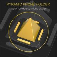 настольный телефон оптовых-Универсальный пирамида держатель настольного телефона для iPhone Samsung мобильный телефон держатель стенд стол мини держатель стенд с коробкой