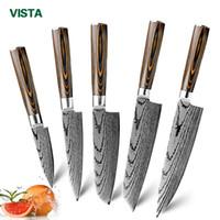 laser en acier inoxydable achat en gros de-Couteau de cuisine Couteaux de cuisine japonaise 7CR17 440C haute teneur en carbone en acier inoxydable imitation Damas Ponçage Laser Couteau