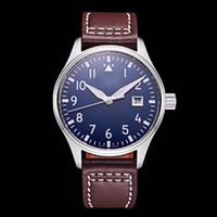 синие мужские часы оптовых-Топ мужские часы Pilot MARK XVIII IW327004 40 мм синий циферблат коричневый кожаный ремешок автоматические механические мужские часы