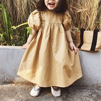 qualität kleine mädchen kleidung großhandel-Neue INS kleine Mädchen Kleider A-Linie kurze Hauchhülse zurück Taste Blank Mädchen Casual Dress aus reiner Baumwolle Qualität Kinder Kleidung Outfits