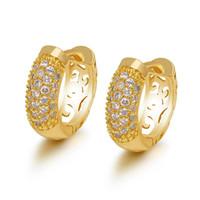 серьги из золота без никеля оптовых-(649E) Модные серьги-кольца с цирконами (24K) для женщин Модные ювелирные изделия Позолоченные без свинца и никеля