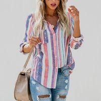 niedliche blusen für frauen großhandel-muke damen herbst neue europäische amerikanische farbe streifen große frauen bluse nette weibliche frauen top shirt