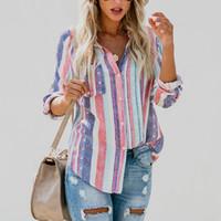 lavage de la soie achat en gros de-muke dames automne nouvelle européenne américaine couleur rayures grandes femmes chemisier mignonne femme Womens Top Shirt