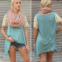 häkelkragen langes hemd großhandel-Jacke unregelmäßiger Rand Lange Ziffer Short Round Kragen Hülsenkopf Splicing Lace Crochet Shirt T Shirts