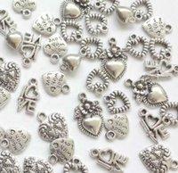 pendentif anges achat en gros de-Vintage argent serrure à clé amour je t'aime coeur ange charmes pendentif pour bijoux mode fabrication bracelets collier accessoires cadeau CHAUD