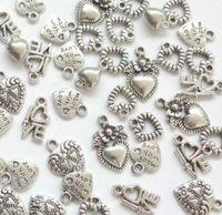 liebe engel armband großhandel-Vintage Silber Key Lock Liebe ich liebe dich Herz Engel Charms Anhänger für Schmuck Mode machen Armbänder Halskette Zubehör heißes Geschenk