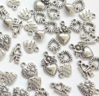 ancre croix coeur collier achat en gros de-Vintage argent serrure à clé amour je t'aime coeur ange charmes pendentif pour bijoux mode fabrication bracelets collier accessoires cadeau CHAUD