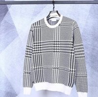 ingrosso abbigliamento di lusso-2019 nuovi Mens Plaid Designers maglione girocollo manica lunga della stampa floreale di stile di modo Homme Abbigliamento di lusso casual Abbigliamento