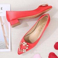 zapatos de boda de diamantes de imitación de china al por mayor-Guapo2019 Estilo Rhinestone chino Grueso Bajo Con Boda Sau Wo Zapatos Novia Casarse Cheongsam Zapato Mujer