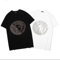 sello xxl al por mayor-Marca de diseñador italiano 2019 Medusa LOGO estampado en caliente camisetas blanco y negro S-XXL