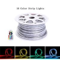 cuerda impermeable de color led al por mayor-Luz de tira llevada Impermeable SMD 5050 LED Cuerda de iluminación Cambio de color Kit completo 110 V 220 V RGB Luz de cinta para el hogar Decoración del edificio Ourdoor