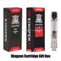 neueste zerstäuber großhandel-Neueste Kingpen 710 Patrone Vape Tank Geschenkbox Paket Neue 0,5 ml 1,0 ml Keramikspule Pyrex Glas Vape Tank Zerstäuber mit roten Geschmack Aufkleber