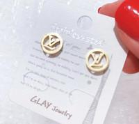 pendientes de la mejor marca al por mayor-precio al por mayor marcas joyas pendientes de diseñador chapados en color oro rosa para mujer lujo CZ diamante mejor regalo de Navidad para damas 3351