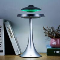 ufo aydınlatma toptan satış-Yedi renk şarj Akıllı Bluetooth hoparlörler UFO tarzı Maglev HIFI Danışma lamba müzikler şarj ışıkları bas stereo su geçirmez kablosuz LED