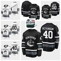 ingrosso stelle di camicia nera-2019 All-Star Game Parley Personalizza maglie Nero Bianco 40 Elias Pettersson Vancouver Canucks Maglie da hockey All Star Stitched Shirts S-XXXL