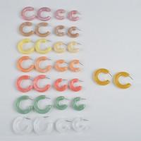 padrões de brincos de acrílico venda por atacado-Ujbox grande promoção multicolor coreano padrão de resina acrílica brincos geométricos semicircular brincos de argola de fábrica por atacado