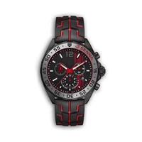 analog kronograf kuvars saatler toptan satış-YENI lüks erkek saatler siyah çelik kasa kauçuk kayış F1 yarış izle spor kuvars Çok Fonksiyonlu chronograph takvim Saatı Montre