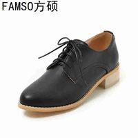 женская обувь офисная оптовых-FAMSO 2019 Women Spring Autumn Designer  Shoes Platforms Pumps Designer Female Party  Shoe Lace-up Office Shallow