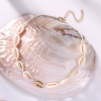 Wholesale choker girl for sale - Group buy Fashion Woman Shell Choker Necklace Girls Vintage Boho Cowrie Necklaces Summer Beach Jewelry Party Festival Gift TTA1219