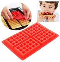 Wholesale chocolate panning for sale - 4 Cavity Silicone Waffle Mold Waffles Cake Chocolate Pan Silicone Mold Muffin Bakeware Cooking Tools Baking Moulds CCA11142