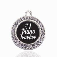 klavierzubehör großhandel-# 1 Klavierlehrer Kreis Charme Kupfer Anhänger Für Halskette Armband Stecker Frauen Geschenk Schmuck Zubehör