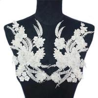 dantel düzeltme yaması toptan satış-2 ADET Beyaz Kumaş Çiçekler Boncuk Püskül Rhinestone Işlemeli Aplikler Dantel Trimler Düğün Elbise Dekorasyon DIY Için Yamalar Dikmek Mesh