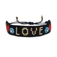 neue liebe herzen großhandel-Neue Ankunfts-Liebe Freundschaft Armband Schwarz Handmade Miyuki DB Rocailles Weave Alpha Charm Armband justierbare Herz-Freundschaft-Armband