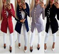 yün ceketi yaka yaka toptan satış-Kadın Ince Palto Kış Yün Karışımı Standı Yaka Katı Tek Göğüslü Rahat S-XL Uzun Kollu Europen Amerikan Moda Kabanlar Palto