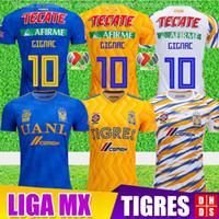 kits de futebol amarelo venda por atacado-Thialand 2018 2019 Maillot Club Tigres UANL camisas de futebol 18 19 Home Amarelo Terceiro Kit Branco 6 Estrelas GIGNAC Vargas Camisas De Futebol Uniforme