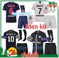 campeones kits de liga al por mayor-Camiseta de fútbol Psg 2018-2019 Adultos Liga de Campeones de París MBAPPE NEYMAR JR camisetas conjunto 18/19 psg camiseta de fútbol