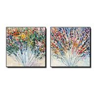 el boyama tuval kalın boya toptan satış-Güzel kalın bıçak çiçek soyut yağlıboya duvar sanatı resimleri ev dekor için tuval üzerine El-boyalı manzara oturma odası yok çerçeveli