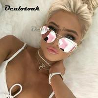 Wholesale orange cateye glasses resale online - Mirror Cateye Goggle Sunglass Ladies Fashion Metal Frame Pink Sunglasses Women Flat Top Brand Design Female Eyewear