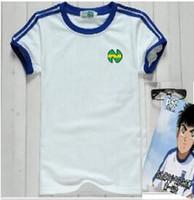 japon pamuklu giysiler toptan satış-Moda erkek Gömlek oliver atom numarası Ile 10, Kaptan Tsubasa, ATOM mavi futbol pamuk beyaz erkek Japon giysi