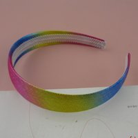 points de couleur en plastique achat en gros de-10pcs 2.5cm points d'argent couleur arc en ciel tissu recouvert de bandeaux de cheveux en plastique pour femmes colorées cerceaux de cheveux