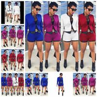 soporte de cintura blanca al por mayor-Moda europea color sólido manga larga imitación cuero Chaqueta delgada pantalones cortos de cintura alta traje blanco, rojo, azul soporte lote mixto