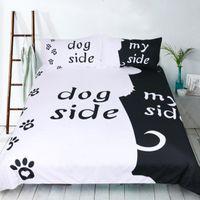 ingrosso letti cani bianchi neri-3d cani lato bianco e nero Copripiumino con federe Set di biancheria da letto Queen King Size trapuntato copriletti Copriletto