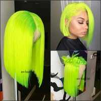 Wholesale cosplay pink resale online - Fashion cheap brazilian full Lace Front Wigs Green short bob wig For white black Women Heat Resistant straight Synthetic cosplay Wig