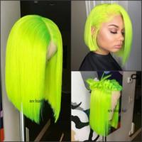 peluca llena de encaje verde al por mayor-Moda barata brasileña pelucas delanteras llenas del cordón Peluca corta verde Bob para blanco / negro Mujeres resistente al calor recta cosplay peluca sintética