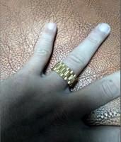 paare krone ringe groihandel-Neue Edelstahl König Paar Ringe gold Farbe Brief Krone Ringe Für Liebhaber Liebe Versprechen Schmuck