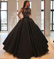 15 kişilik siyah elbiseler toptan satış-Basit Siyah Balo Quinceanera Elbiseler Cap Kollu Jewel Boyun Örgün Akşam Balo Abiye Vestidos de 15 Anos Pageant Elbise