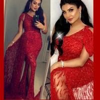 саш-ким оптовых-Вечернее платье Yousef aljasmi Kim kardashian длинное платье с коротким рукавом Кристалл Красный пояса тюль V-образным вырезом оболочка Zuhair murad 2019