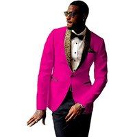 esmoquin rosa fuerte novio al por mayor-Nuevos Padrinos de boda Hot Pink Groom Tuxedos Shawl patrón solapa hombres trajes boda mejor hombre Blazer (chaqueta + pantalones + corbata) C497