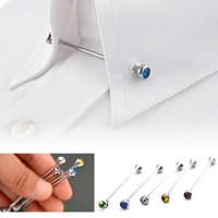 korsaj erkek takım elbise toptan satış-Erkekler Için moda Kristal Rhinestone Broş Pins Takım Gömlek Kravat Yaka Pin Korsaj Yaka Uzun Broş Takı Hediye