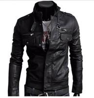 Wholesale leather sleeve parka resale online - 2019 Classic Style Motorcycling PU Leather Fashion Jacket Men Slim Fit Male Motor Faux Leather Jacket Men Parka Asia Size
