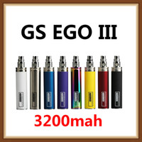 große elektronik großhandel-100% original große kapazität 510 gewinde elektronische zigarette verdampfer wiederaufladbare gs ego iii 3200 mah batterie vape pen kostenloser versand