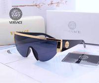 óculos claros uv venda por atacado-Novo estilo 2019Versace medusa óculos de sol metade do quadro das mulheres dos homens designer de marca proteção uv óculos de sol lente clara e caixa Original